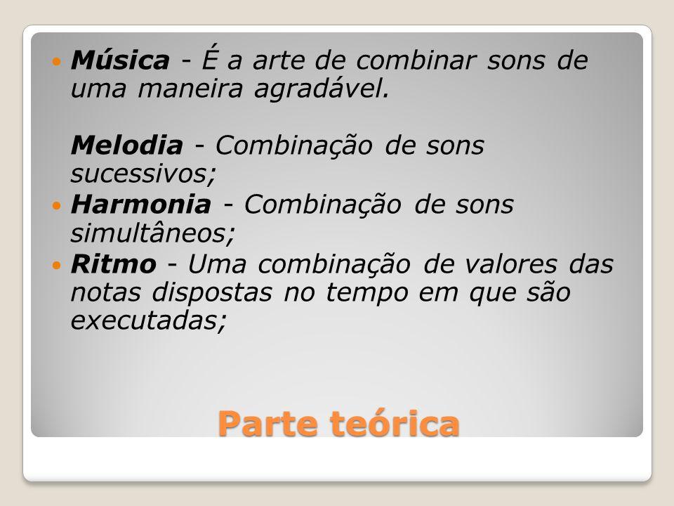 Parte teórica Música - É a arte de combinar sons de uma maneira agradável. Melodia - Combinação de sons sucessivos; Harmonia - Combinação de sons simu