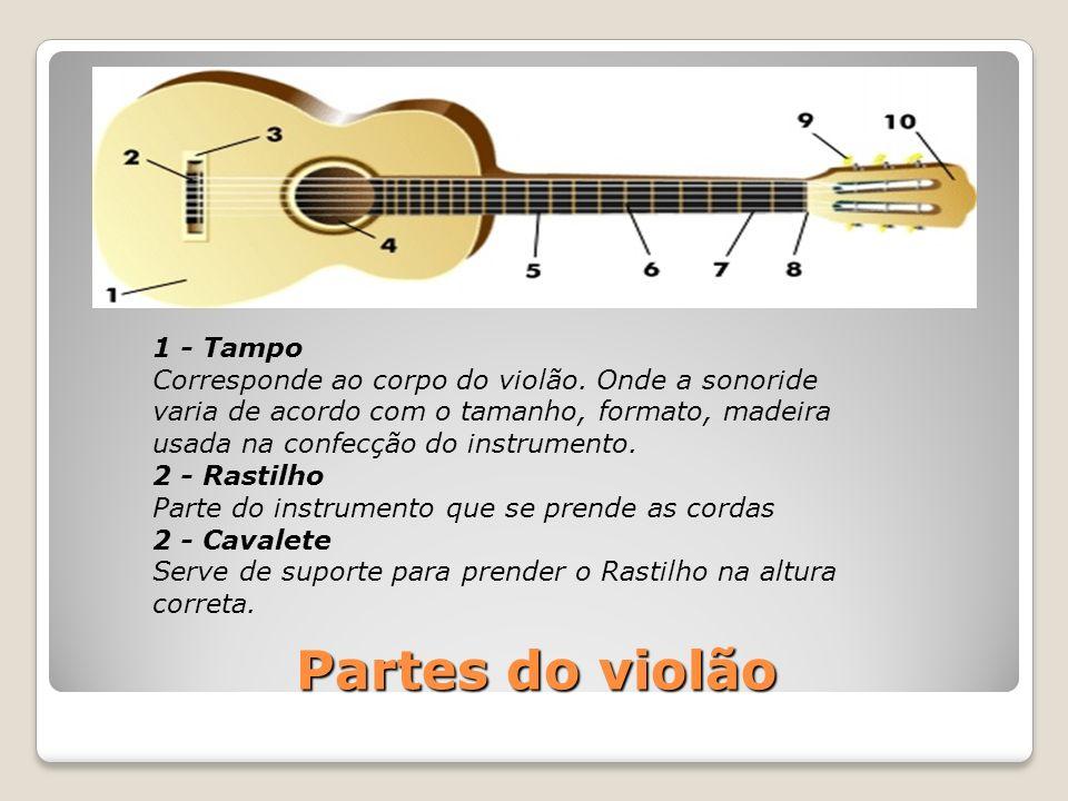 Partes do violão 1 - Tampo Corresponde ao corpo do violão. Onde a sonoride varia de acordo com o tamanho, formato, madeira usada na confecção do instr