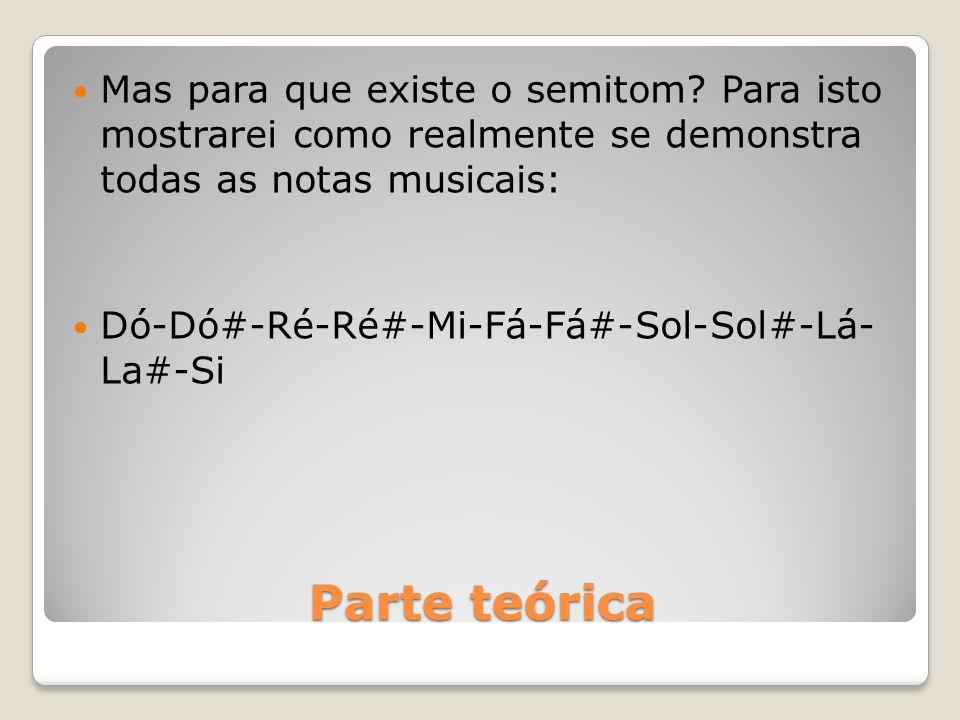 Parte teórica Mas para que existe o semitom? Para isto mostrarei como realmente se demonstra todas as notas musicais: Dó-Dó#-Ré-Ré#-Mi-Fá-Fá#-Sol-Sol#