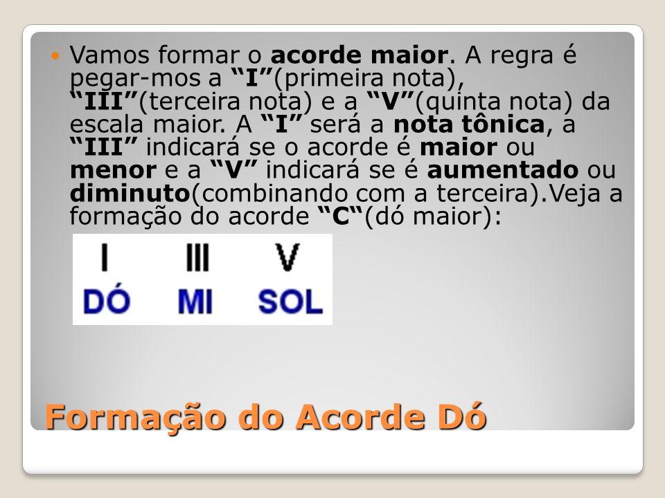 Formação do Acorde Dó Vamos formar o acorde maior. A regra é pegar-mos a I(primeira nota), III(terceira nota) e a V(quinta nota) da escala maior. A I