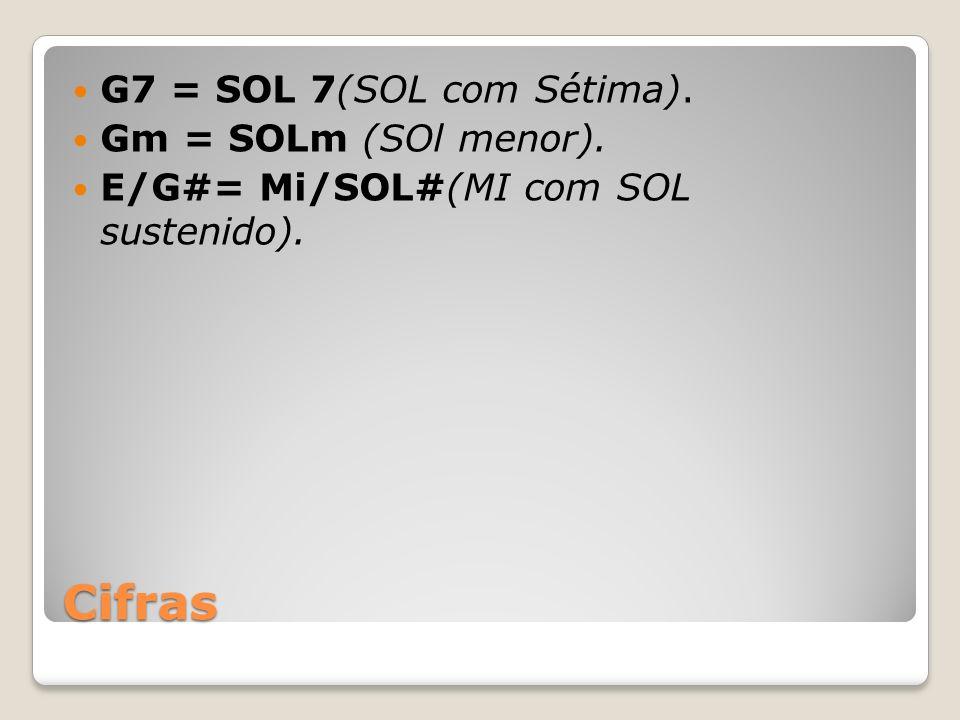 Cifras G7 = SOL 7(SOL com Sétima). Gm = SOLm (SOl menor). E/G#= Mi/SOL#(MI com SOL sustenido).