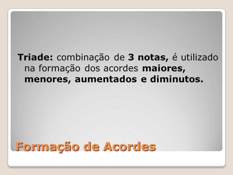 Formação de Acordes Triade: combinação de 3 notas, é utilizado na formação dos acordes maiores, menores, aumentados e diminutos.