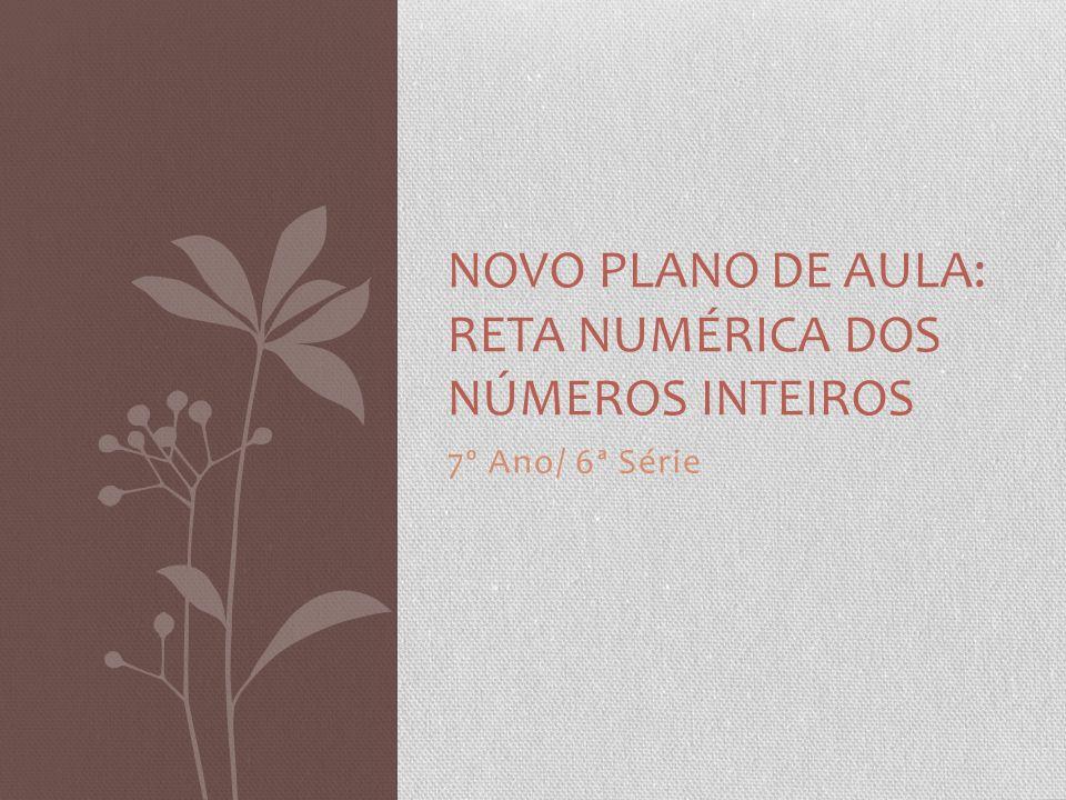 7º Ano/ 6ª Série NOVO PLANO DE AULA: RETA NUMÉRICA DOS NÚMEROS INTEIROS