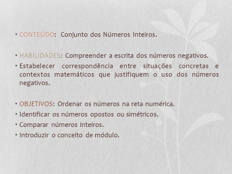 CONTEÚDO: Conjunto dos Números Inteiros. HABILIDADES: Compreender a escrita dos números negativos. Estabelecer correspondência entre situações concret