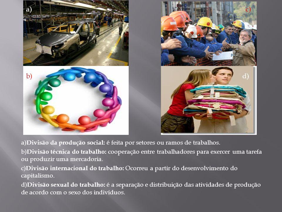 a) Divisão da produção social: é feita por setores ou ramos de trabalhos. b) Divisão técnica do trabalho: cooperação entre trabalhadores para exercer