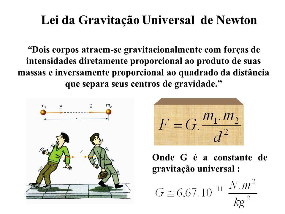 Lei da Gravitação Universal de Newton Dois corpos atraem-se gravitacionalmente com forças de intensidades diretamente proporcional ao produto de suas