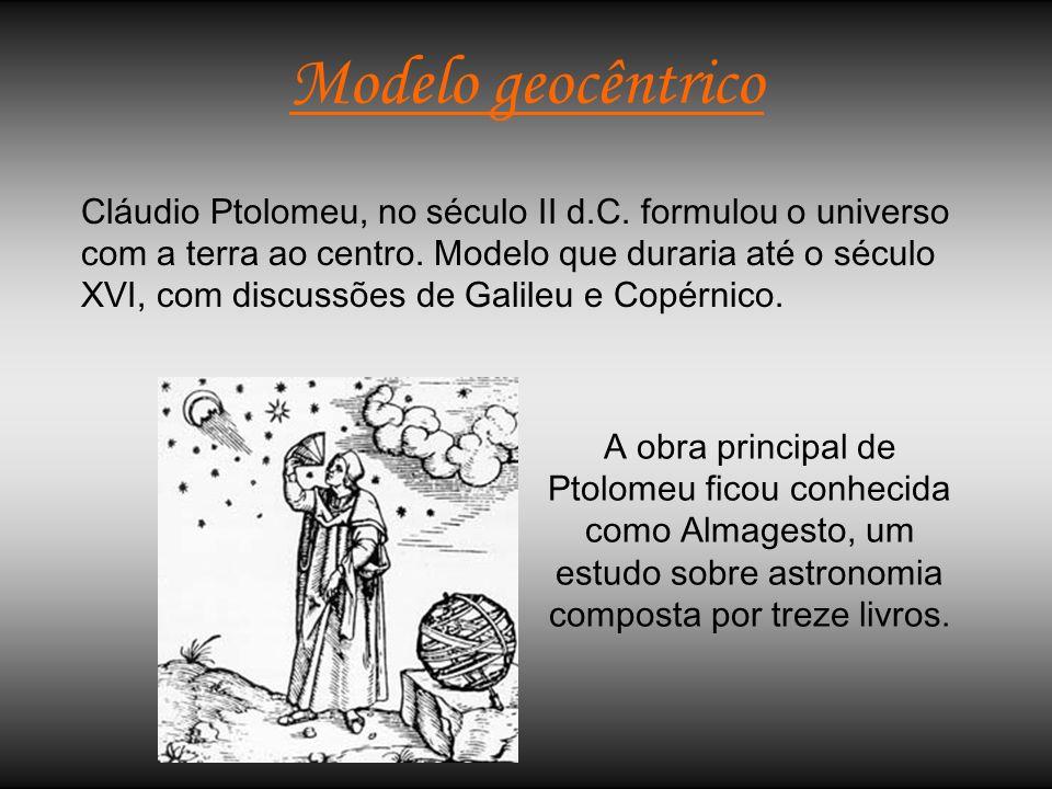 Modelo geocêntrico Cláudio Ptolomeu, no século II d.C. formulou o universo com a terra ao centro. Modelo que duraria até o século XVI, com discussões