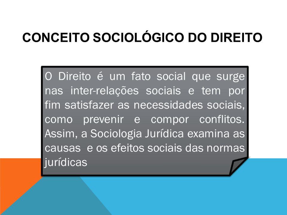 CONCEITO SOCIOLÓGICO DO DIREITO O seu objeto de análise é a realidade jurídica, o processo de criação do direito e sua aplicação na sociedade.