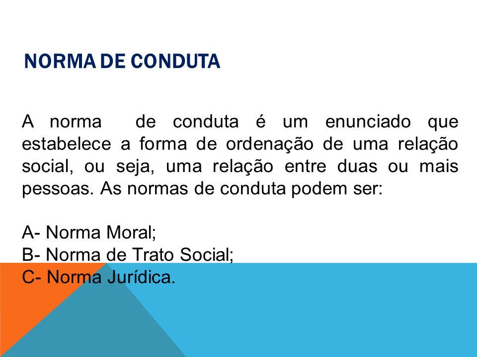 A- NORMA MORAL Moral Tem origem na consciência do indivíduo, cuja execução não é objetivamente exigível e que tende ao aperfeiçoamento do homem.