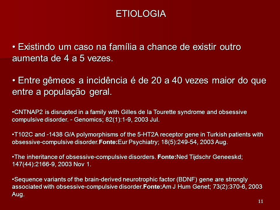 11 ETIOLOGIA Existindo um caso na família a chance de existir outro aumenta de 4 a 5 vezes. Existindo um caso na família a chance de existir outro aum