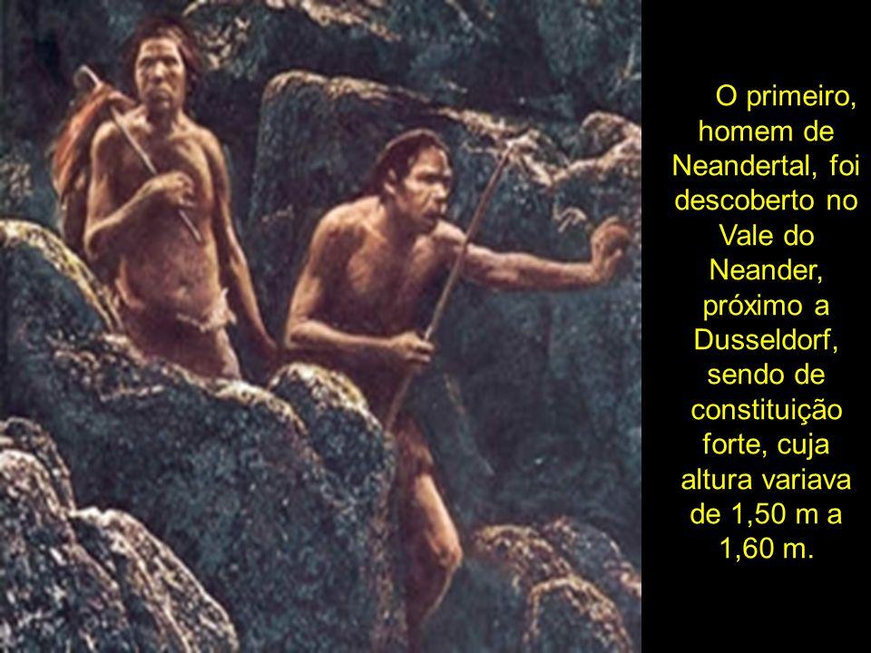O primeiro, homem de Neandertal, foi descoberto no Vale do Neander, próximo a Dusseldorf, sendo de constituição forte, cuja altura variava de 1,50 m a