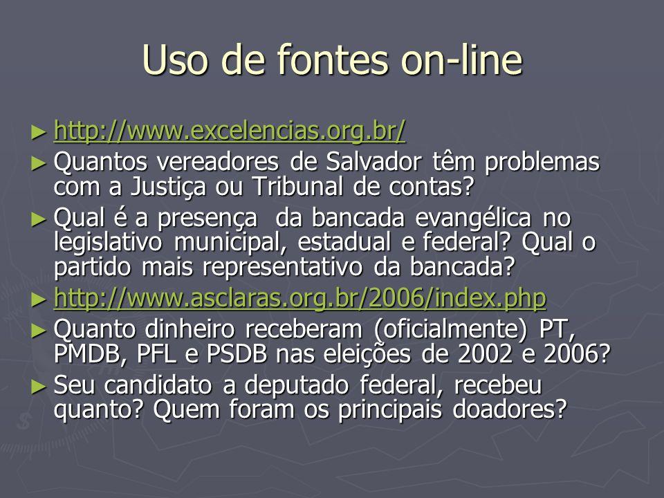 Uso de fontes on-line http://www.excelencias.org.br/ http://www.excelencias.org.br/ http://www.excelencias.org.br/ Quantos vereadores de Salvador têm problemas com a Justiça ou Tribunal de contas.