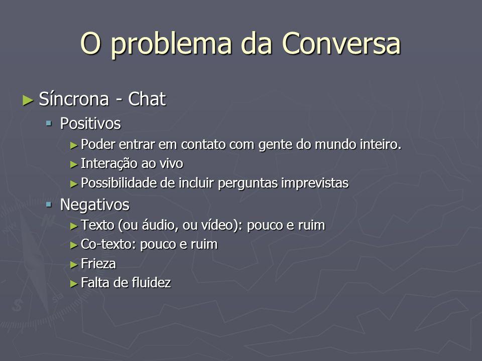 O problema da Conversa Assíncrona (E-mail, listas, fórum, comunidades Virtuais) Assíncrona (E-mail, listas, fórum, comunidades Virtuais) Positivos Positivos Tempo e espaço para elaboração do texto.
