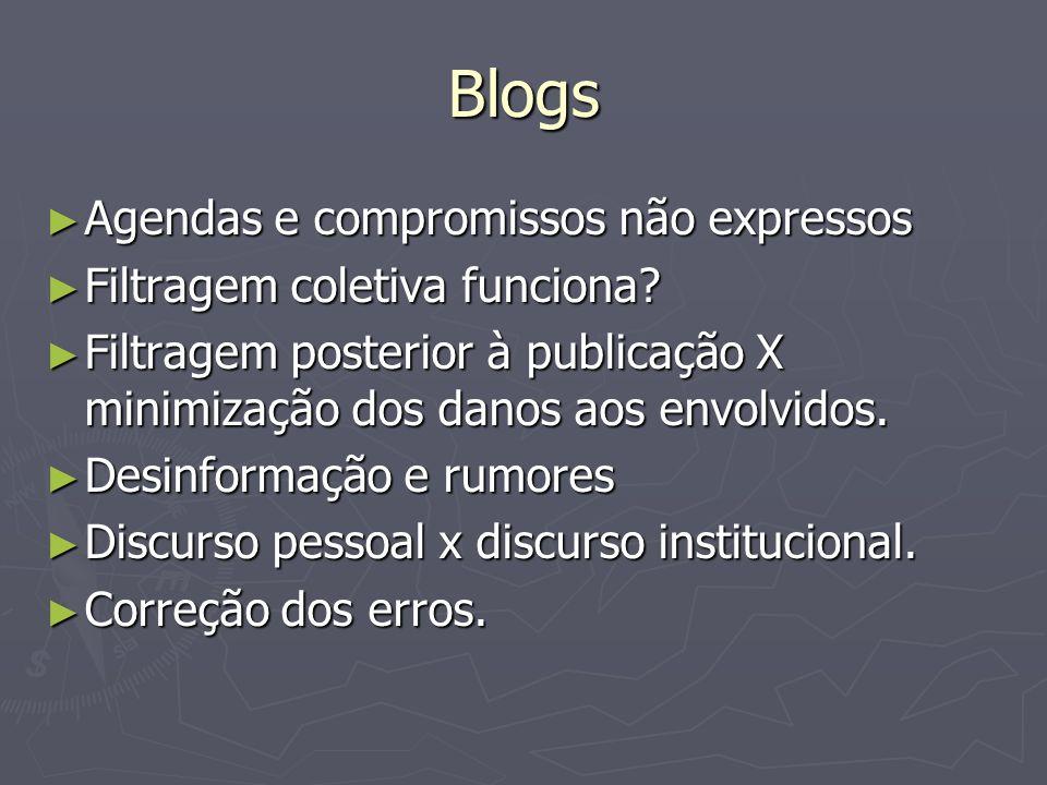 Blogs Agendas e compromissos não expressos Agendas e compromissos não expressos Filtragem coletiva funciona.
