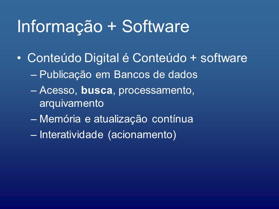 Informação + Software Conteúdo Digital é Conteúdo + software –Publicação em Bancos de dados –Acesso, busca, processamento, arquivamento –Memória e atu