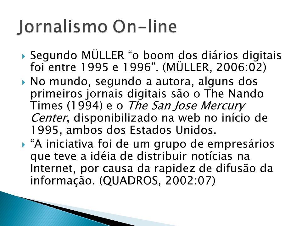 Segundo MÜLLER o boom dos diários digitais foi entre 1995 e 1996. (MÜLLER, 2006:02) No mundo, segundo a autora, alguns dos primeiros jornais digitais