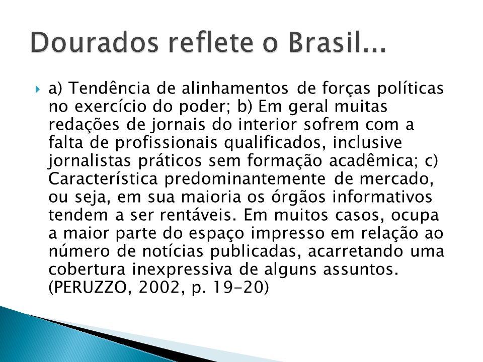 a) Tendência de alinhamentos de forças políticas no exercício do poder; b) Em geral muitas redações de jornais do interior sofrem com a falta de profi