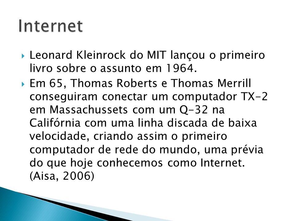 Leonard Kleinrock do MIT lançou o primeiro livro sobre o assunto em 1964. Em 65, Thomas Roberts e Thomas Merrill conseguiram conectar um computador TX
