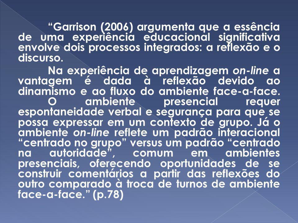 Garrison (2006) argumenta que a essência de uma experiência educacional significativa envolve dois processos integrados: a reflexão e o discurso. Na e