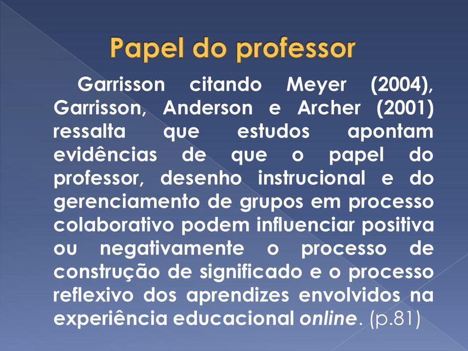 Garrisson citando Meyer (2004), Garrisson, Anderson e Archer (2001) ressalta que estudos apontam evidências de que o papel do professor, desenho instr