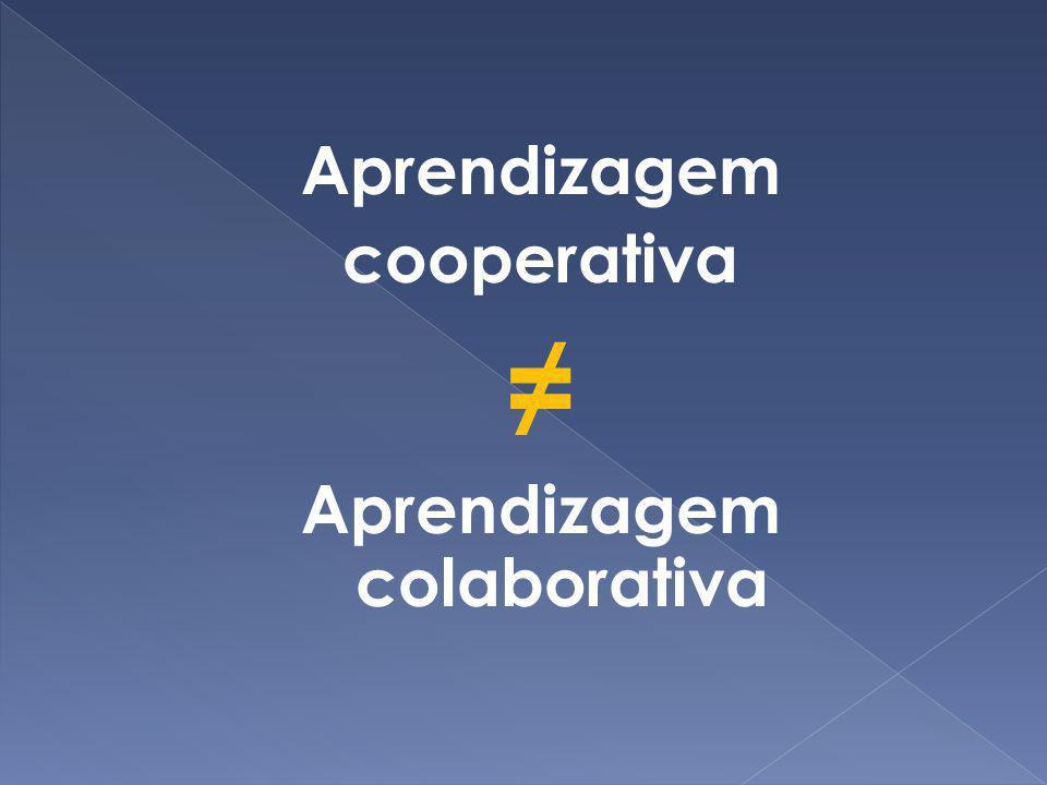 Aprendizagem cooperativa Aprendizagem colaborativa