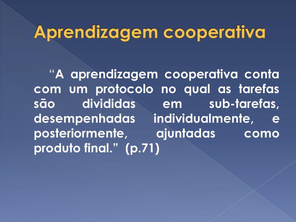 A aprendizagem cooperativa conta com um protocolo no qual as tarefas são divididas em sub-tarefas, desempenhadas individualmente, e posteriormente, aj