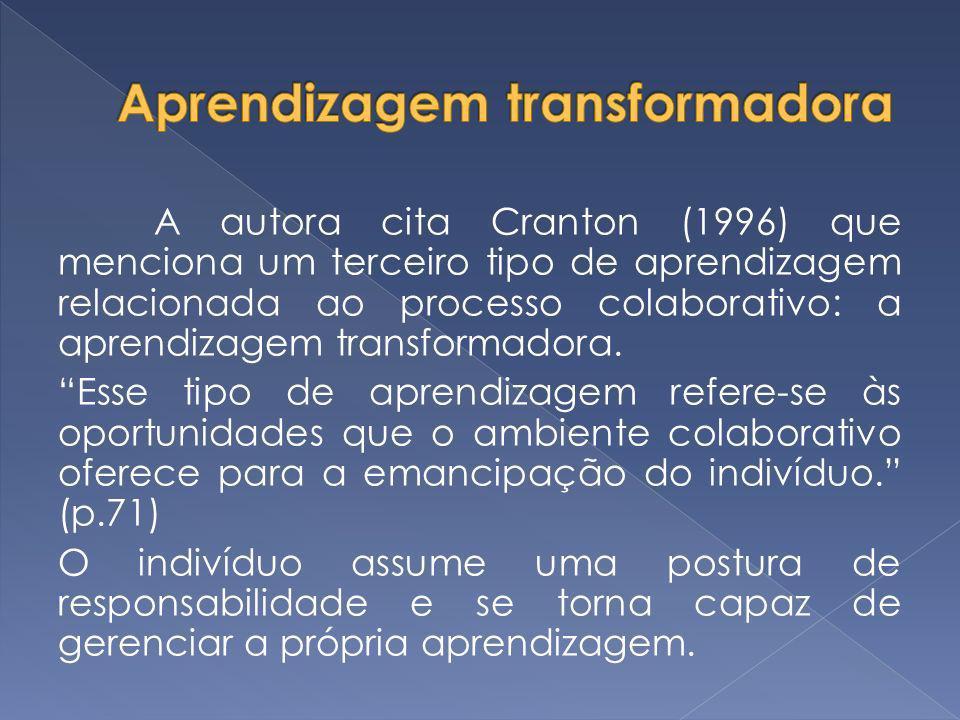 A autora cita Cranton (1996) que menciona um terceiro tipo de aprendizagem relacionada ao processo colaborativo: a aprendizagem transformadora. Esse t