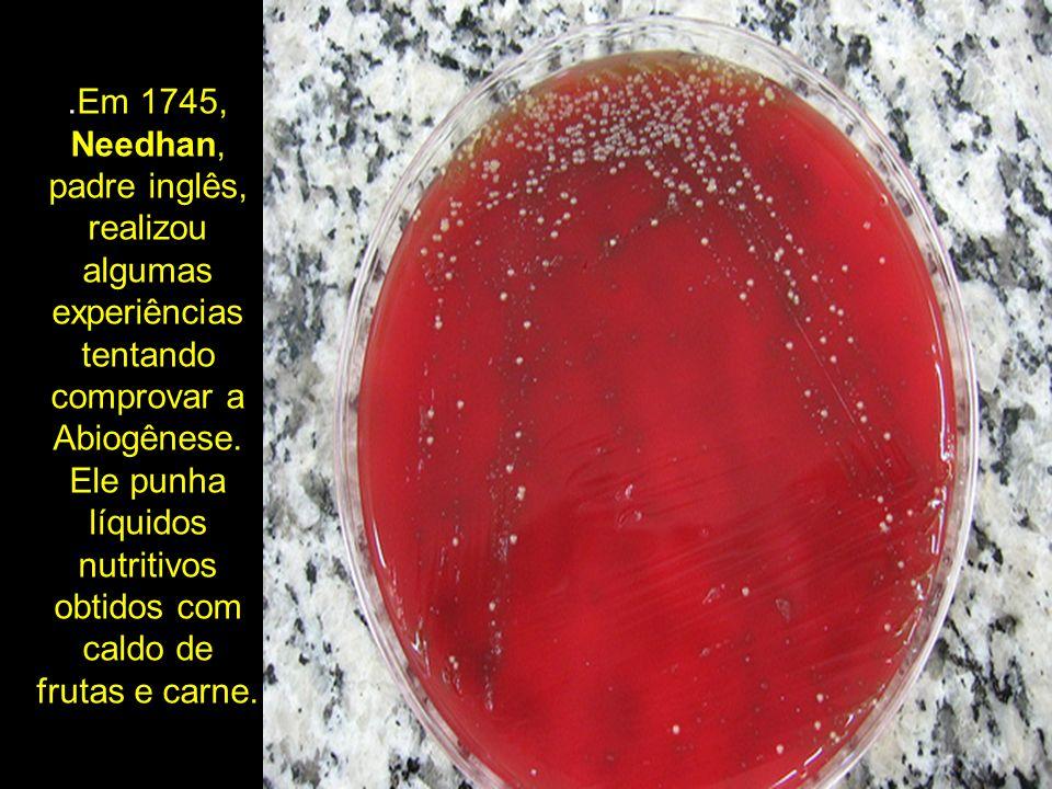.Em 1745, Needhan, padre inglês, realizou algumas experiências tentando comprovar a Abiogênese. Ele punha líquidos nutritivos obtidos com caldo de fru