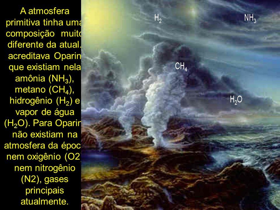 A atmosfera primitiva tinha uma composição muito diferente da atual. acreditava Oparin que existiam nela amônia (NH 3 ), metano (CH 4 ), hidrogênio (H