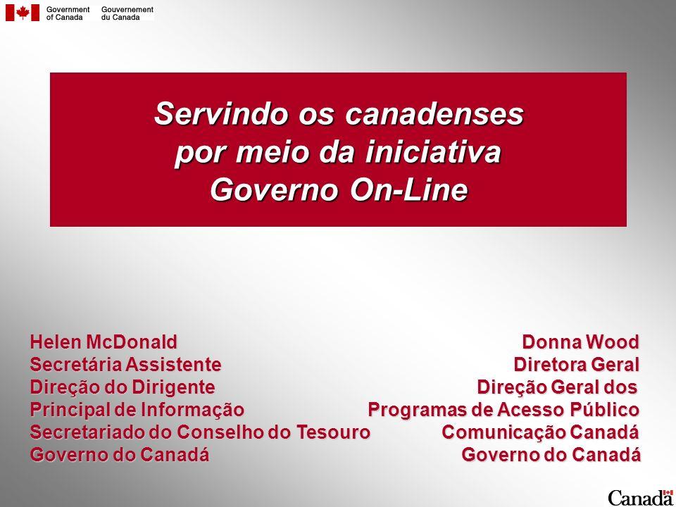 Servindo os canadenses por meio da iniciativa Governo On-Line Helen McDonald Donna Wood Secretária Assistente Diretora Geral Direção do Dirigente Dire