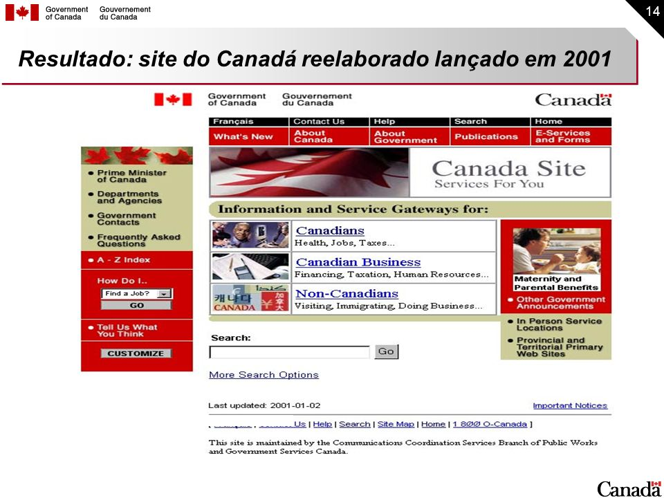 14 Resultado: site do Canadá reelaborado lançado em 2001