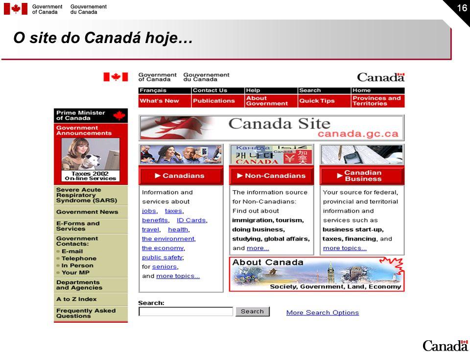 16 O site do Canadá hoje…