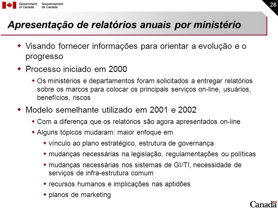 28 Apresentação de relatórios anuais por ministério Visando fornecer informações para orientar a evolução e o progresso Processo iniciado em 2000 Os m