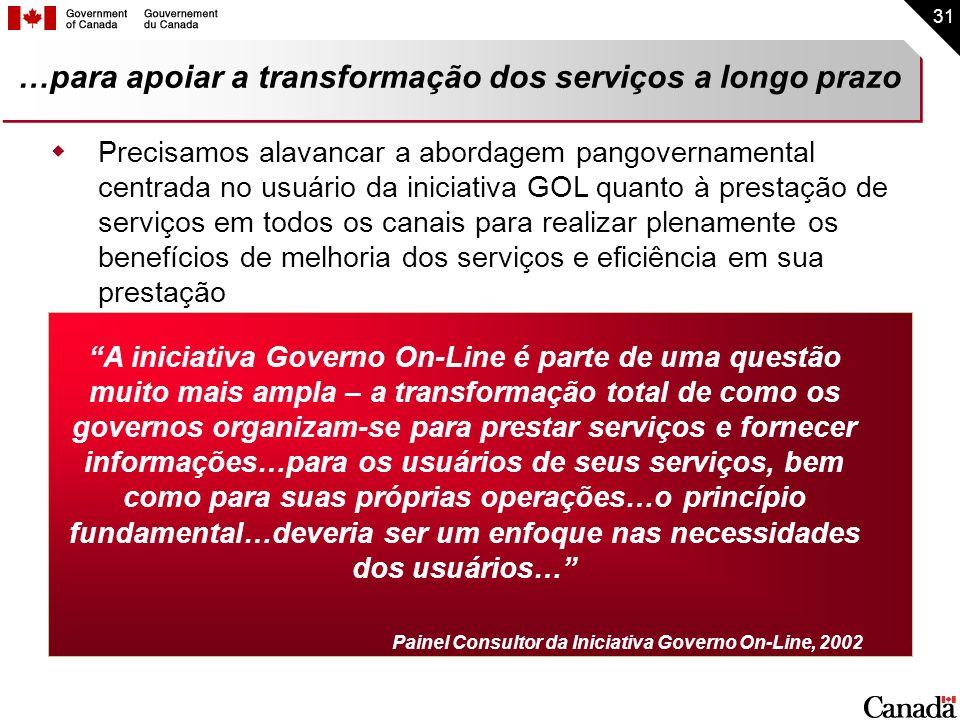 31 …para apoiar a transformação dos serviços a longo prazo A iniciativa Governo On-Line é parte de uma questão muito mais ampla – a transformação tota