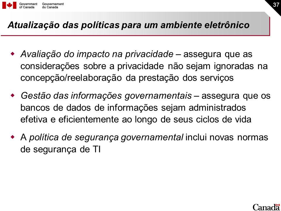 37 Atualização das políticas para um ambiente eletrônico Avaliação do impacto na privacidade – assegura que as considerações sobre a privacidade não s