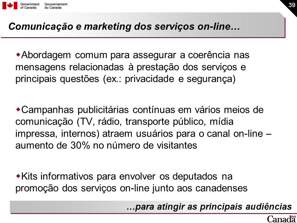 39 Comunicação e marketing dos serviços on-line… Abordagem comum para assegurar a coerência nas mensagens relacionadas à prestação dos serviços e prin