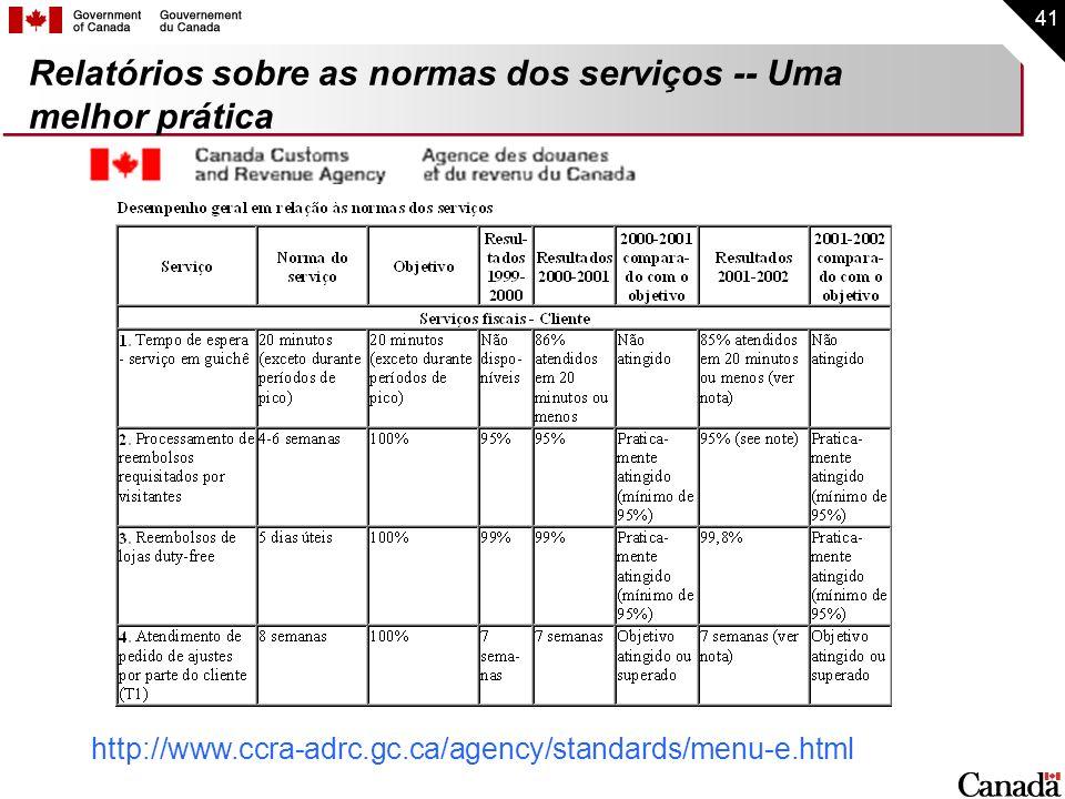 41 Relatórios sobre as normas dos serviços -- Uma melhor prática http://www.ccra-adrc.gc.ca/agency/standards/menu-e.html