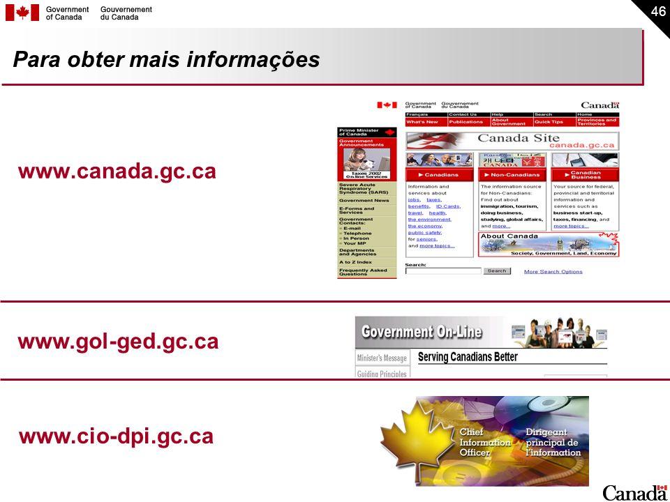 46 Para obter mais informações www.canada.gc.ca www.gol-ged.gc.ca www.cio-dpi.gc.ca