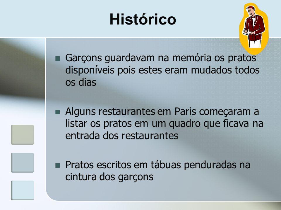 Histórico Garçons guardavam na memória os pratos disponíveis pois estes eram mudados todos os dias Alguns restaurantes em Paris começaram a listar os