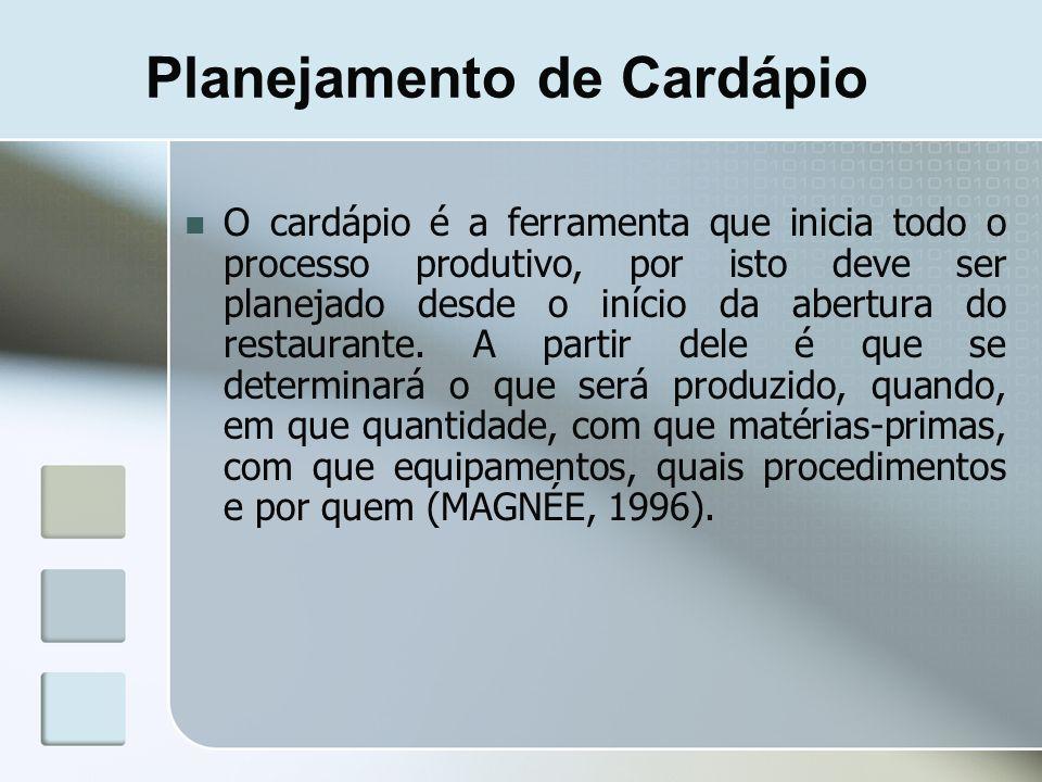 Planejamento de Cardápio O cardápio é a ferramenta que inicia todo o processo produtivo, por isto deve ser planejado desde o início da abertura do res