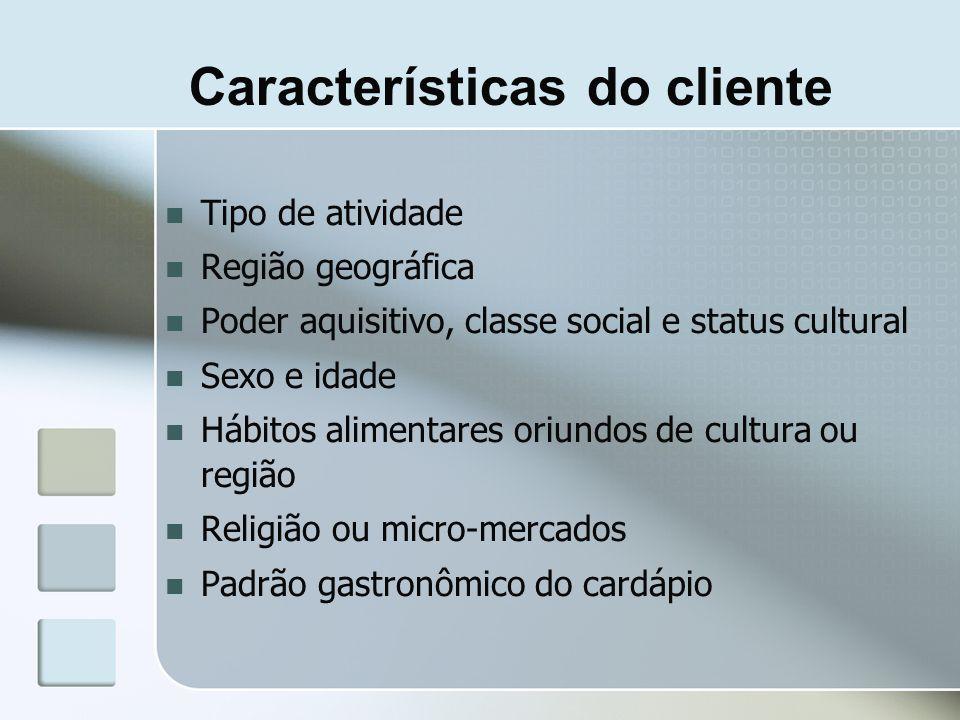 Características do cliente Tipo de atividade Região geográfica Poder aquisitivo, classe social e status cultural Sexo e idade Hábitos alimentares oriu