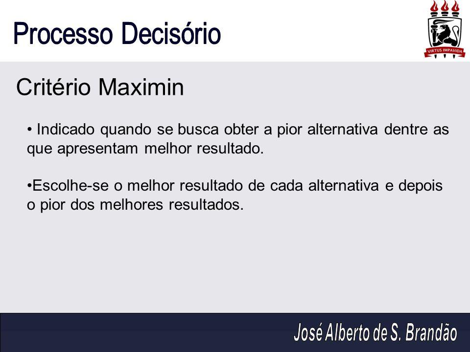 Critério Maximin Indicado quando se busca obter a pior alternativa dentre as que apresentam melhor resultado. Escolhe-se o melhor resultado de cada al