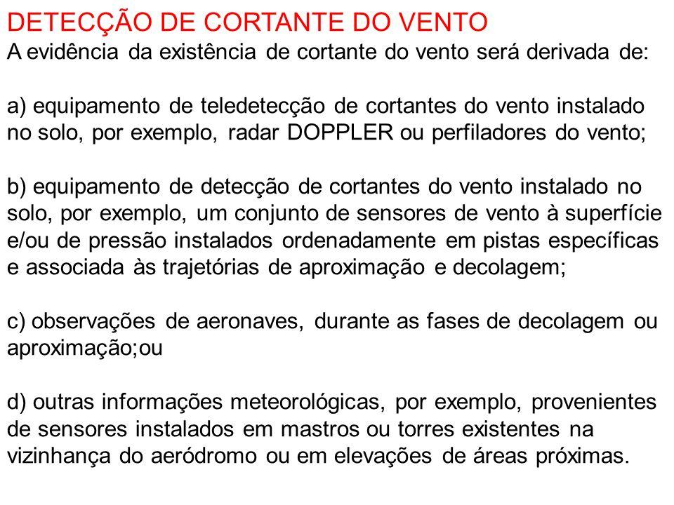 DETECÇÃO DE CORTANTE DO VENTO A evidência da existência de cortante do vento será derivada de: a) equipamento de teledetecção de cortantes do vento in