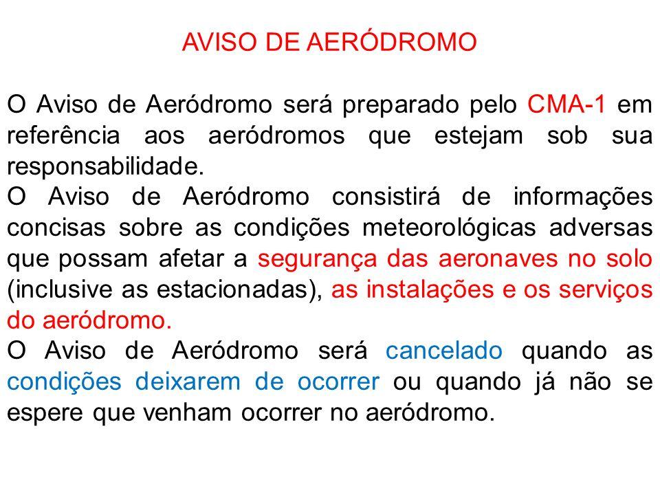 AVISO DE AERÓDROMO O Aviso de Aeródromo será preparado pelo CMA-1 em referência aos aeródromos que estejam sob sua responsabilidade. O Aviso de Aeródr