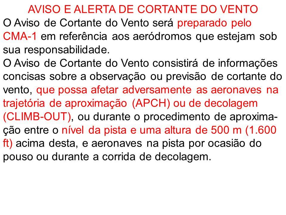 AVISO E ALERTA DE CORTANTE DO VENTO O Aviso de Cortante do Vento será preparado pelo CMA-1 em referência aos aeródromos que estejam sob sua responsabi