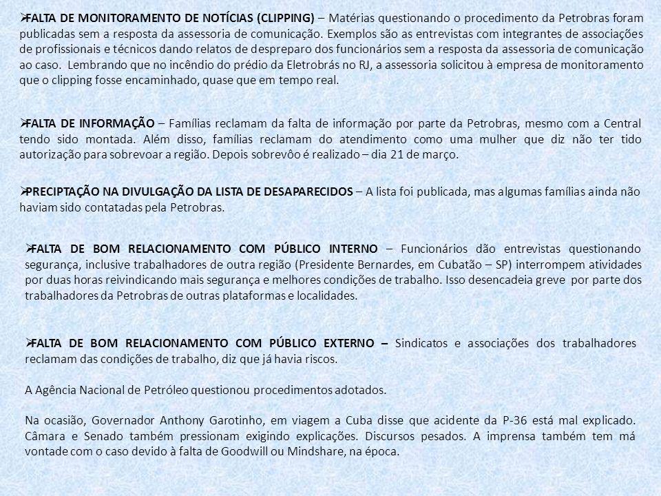 FALTA DE MONITORAMENTO DE NOTÍCIAS (CLIPPING) – Matérias questionando o procedimento da Petrobras foram publicadas sem a resposta da assessoria de com