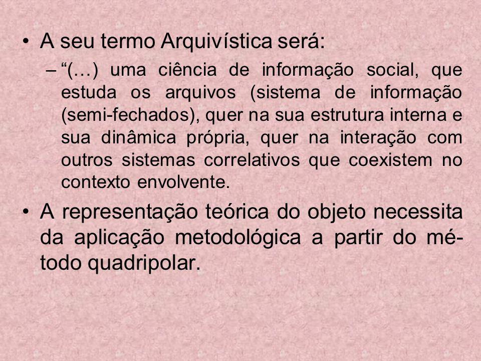 A seu termo Arquivística será: –(…) uma ciência de informação social, que estuda os arquivos (sistema de informação (semi-fechados), quer na sua estru