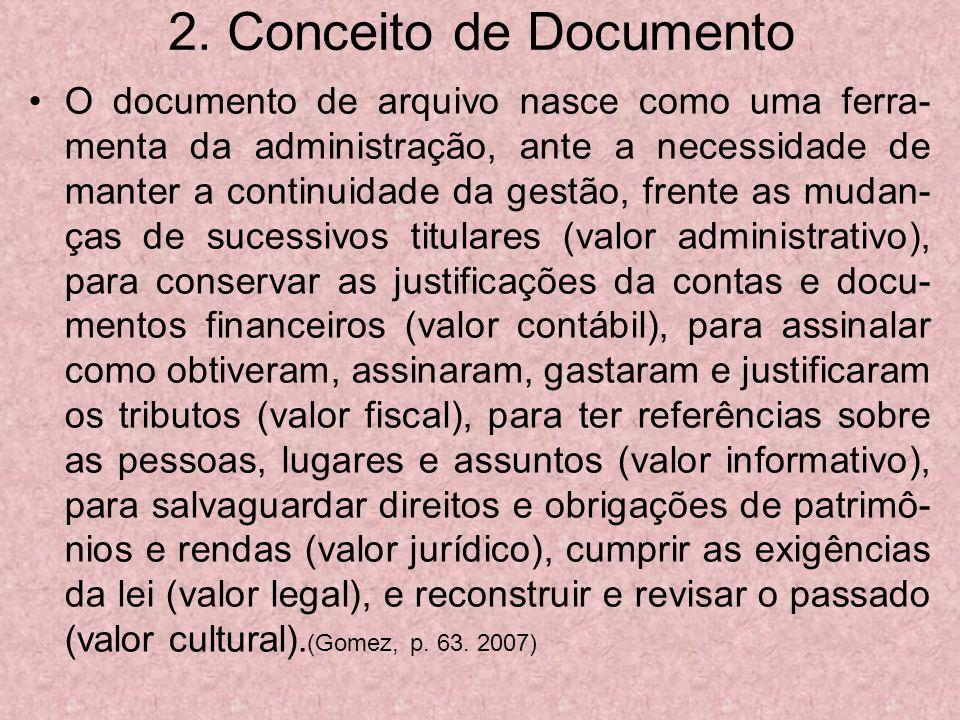 2. Conceito de Documento O documento de arquivo nasce como uma ferra- menta da administração, ante a necessidade de manter a continuidade da gestão, f