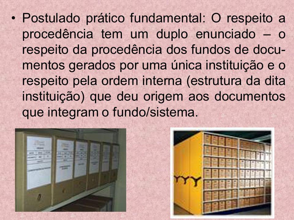 Postulado prático fundamental: O respeito a procedência tem um duplo enunciado – o respeito da procedência dos fundos de docu- mentos gerados por uma