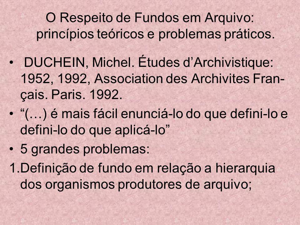 O Respeito de Fundos em Arquivo: princípios teóricos e problemas práticos. DUCHEIN, Michel. Études dArchivistique: 1952, 1992, Association des Archivi